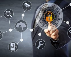 Blue chip manager is unlocking a virtual locking mechanism to access shared cloud resources. Internet concept for identity & access management, cloud storage, cybersecurity and managed services.